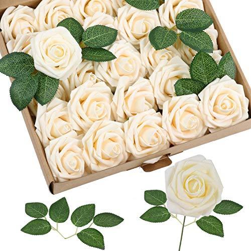 shirylzee Flores Rosas Artificiales 25pcs Espuma Rosa Falsa con Hojas y Tallos Ajustable...