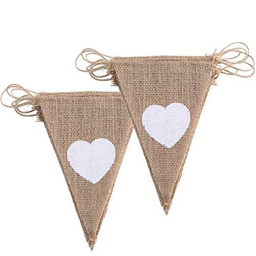 ManYee 2 pcs 3.4m Banderines Yute de color blanco corazón guirnalda Bunting Banner...