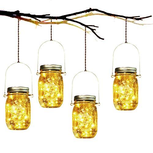Lámpara de Decoración Solar - 4 Piezes Lámpara Solar Mason Jar Set Lámpara Ahorro de...