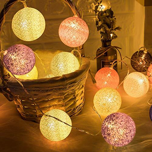 Guirnalda de Luces de Algodón, 3M Cadena de Luces para Algodón Bola, Guirnalda Luces con...