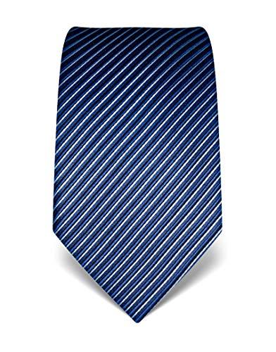 Vincenzo Boretti Corbata de hombre en seda pura, de rayas azul oscuro