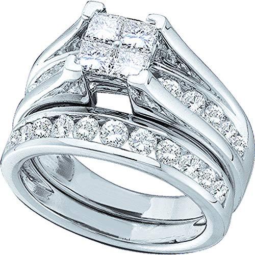 Juego de anillos de compromiso de oro blanco de 14 quilates para mujer con diamantes de...