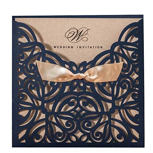 wishmade invitaciones de boda tarjetas 50pcs cortado con láser azul marino cuadrado...