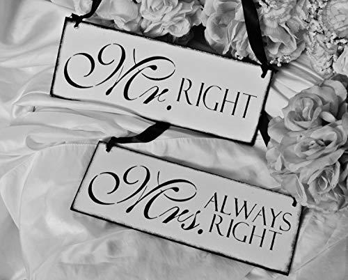 CELYCASY - Juego de 2 letreros de Boda, para el Sr. Right, la Sra. Always Right, Bodas,...