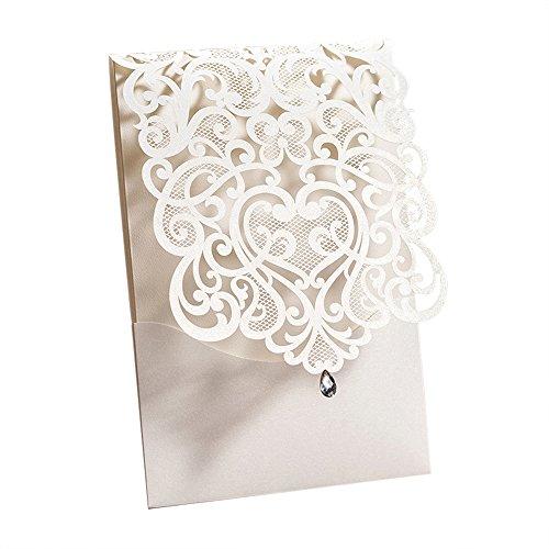WISHMADE 20 La boda blanca del corte del laser invita a la tarjeta del kit de la...