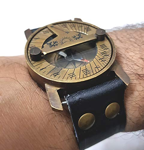 Maritime Steampunk - Reloj de pulsera de piel con brújula (latón, diseño de brújula,...