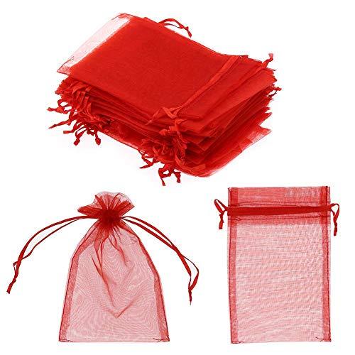 SUVIA - 100 bolsas de regalo de organza 9 x 12 cm, bolsas de caramelos para bodas,...