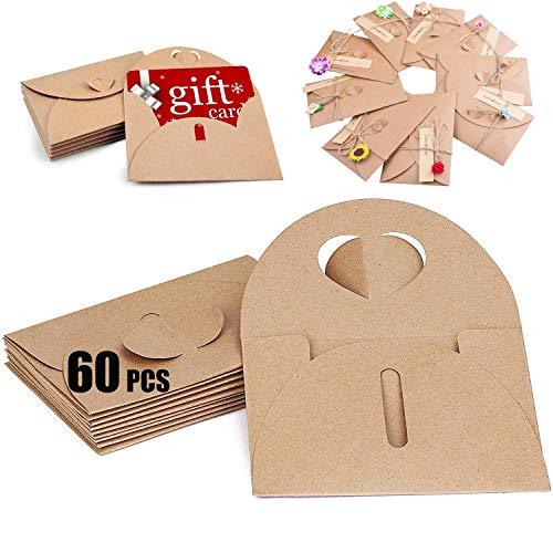 BITEFU - 60 sobres de papel kraft para tarjetas postales, bodas, fiestas de cumpleaños...