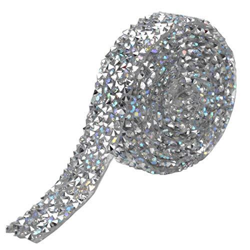 HQdeal Cinta de Diamantes de Imitación, Cinta De Cristal, 1 yarda 15 mm Rollo de Malla de...