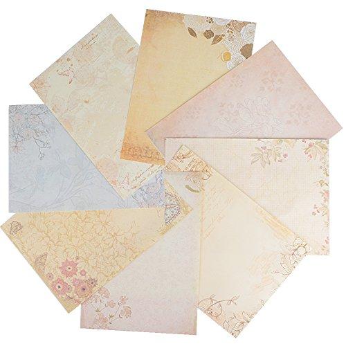 80 Hojas Papel de Carta Vintage Antiguo Escritura Escribir (26cm*18.5cm) para Decoración...