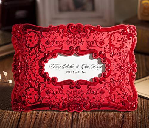 100Pcs WISHMADE La boda romántica en relieve roja invita a los kits con sobres,...