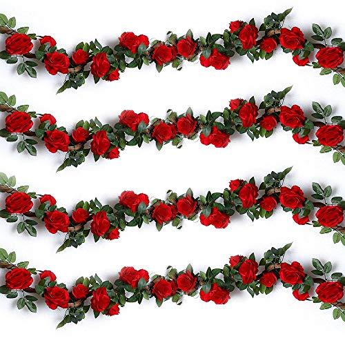 Ruiuzi Guirnalda de Rosas Artificiales, Flores de Seda para Colgar, Plantas Artificiales...