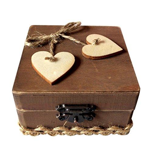 ounona caja anillo de doble amor corazón de madera rústico, compromiso, boda anillo...