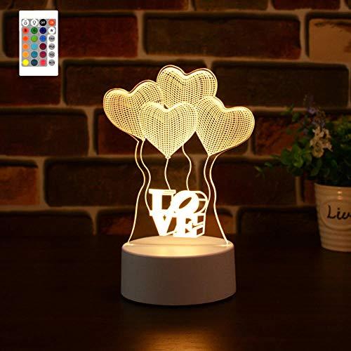 LED Love Balloon Lámpara de noche con luz de noche 3D, 16 colores Holograma Ilusión Luz...