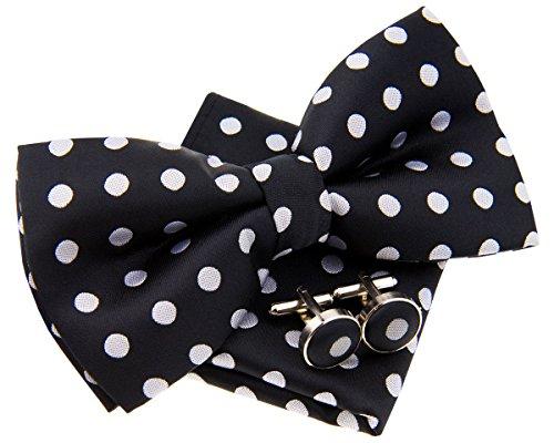 Pajarita clásica, de lunares, pre-anudada, 12 cm, con pañuelo cuadrado de bolsillo y...