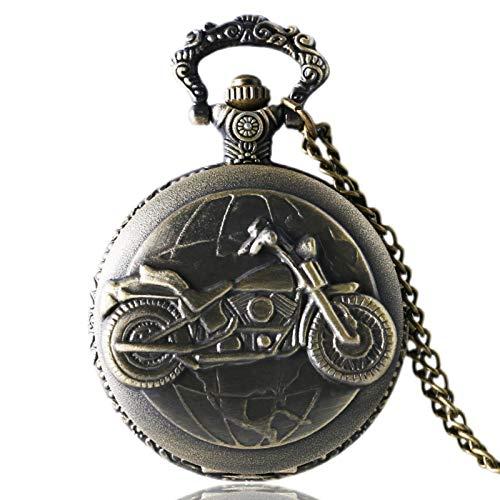 ZMKW Antiguo Bronce Motocicleta Moto Reloj de Bolsillo Collar Colgante Regalo de los...