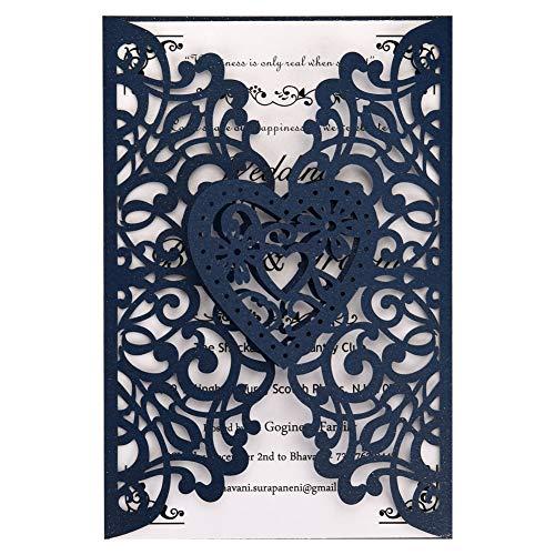 FOMTOR - Invitaciones de boda cortadas con láser, 50 unidades, papel imprimible en blanco...
