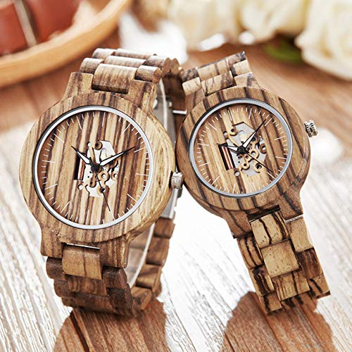 PLUIEX Reloj de pulsera de madera natural para hombre y mujer, moderno, informal, para...