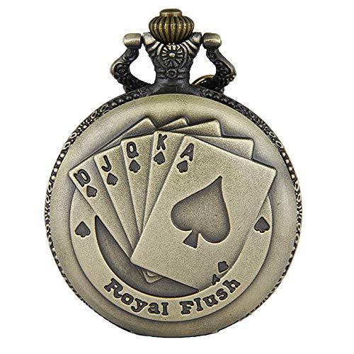 JewelryWe Reloj de Bolsillo Bronce Poker Royal Flush, Reloj de Bolsillo Cuarzo para Hombre...