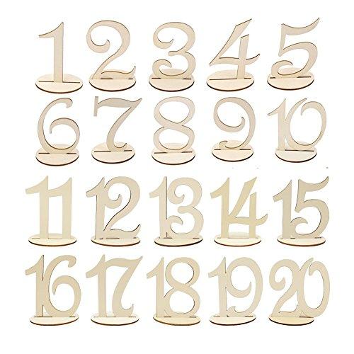 Wskderliner Numeros para Mesas de Bodas 1 A 20 Números para Artesanía en Madera...