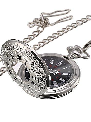Reloj de Bolsillo de Cuarzo Plateado Clásico de Números Romanos con Cadena (Dial de...