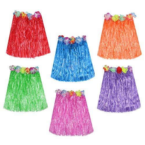 Kurtzy Falda Hawaiana (Paquete de 6) - 42cm Larga Multicolor Paja Hula Faldas con Banda...