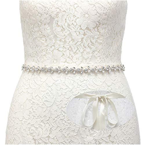 SWEETV Boda Vestido Faja Cintura Cinturón Cinta de Raso de Brillantes Diamantes de...