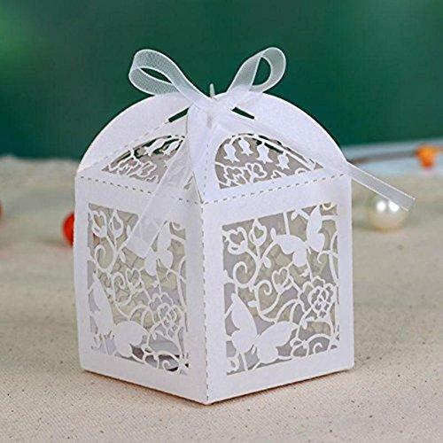ele ELEOPTION Caja regalo bombonera caja de caramelos para boda (50 unidades, mariposa...
