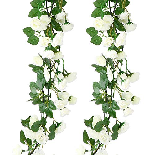 VINFUTUR 2pcs×1.8m Flores Artificiales Rosas Colgantes, Guirnalda Flores Artificial...