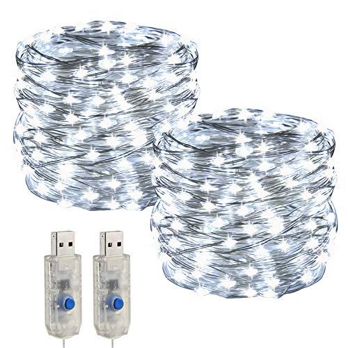 [2 piezas] USB LEDs Cadena de Luz ,Impermeable IP68 de Hadas Guirnalda Luces ,2x10m...