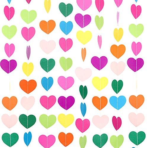 10 Decoraciones de Corazón de Papel de Cumpleaños de Color Arcoíris Banner Colgante de...
