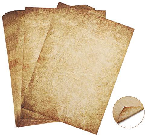60 hojas Papel con diseño de papel antiguo Carta Pergamino Vintage Din A4 100g/m²...