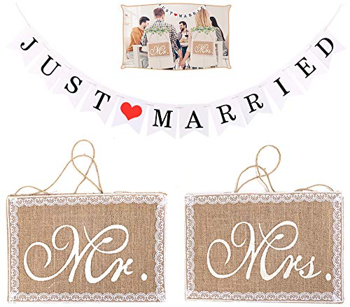 Chingde Mr and Mrs Wedding Signs, Just married banner, arpillera de encaje Mr and Mrs...