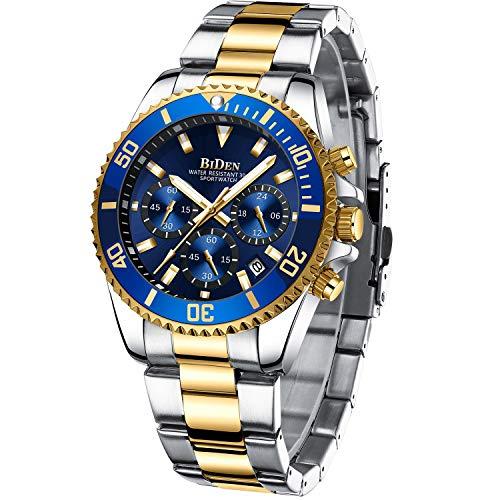 Reloj de Pulsera para Hombre, cronógrafo, de Acero Inoxidable, Resistente al Agua, con...