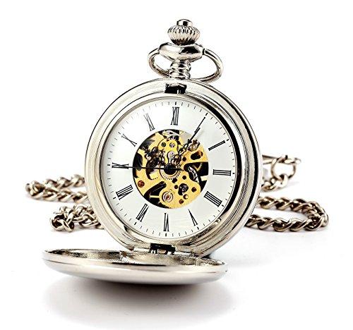 ManChDa® Hombres Steampunk Reloj de Bolsillo Plata Cazador de Doble Esfera Esqueleto con...