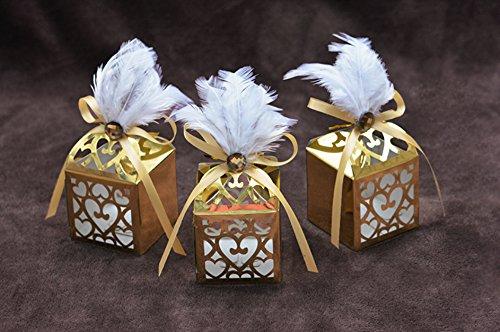 10 cajas huecas para regalos de boda cortadas con láser, cinta decorativa (blanco)