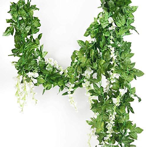 Guirnalda de 5 hilos de seda artificial de glicina, glicinas de hiedra, flores...
