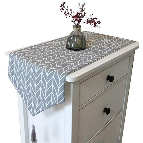OSISTER7 - Camino de mesa en lino de algodón, diseño moderno, decoración para hogares,...