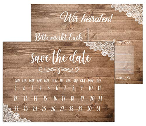 HWArt 50 tarjetas de felicitación de Save The Date, vintage, invitaciones de boda,...