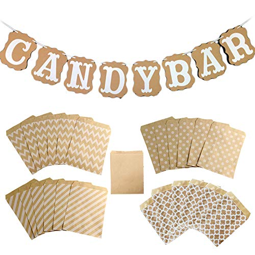 Sweieoni Candy Bar Banner Candy Bar Decoration Candy Bar Guirnalda con 50 piezas bolsas de...