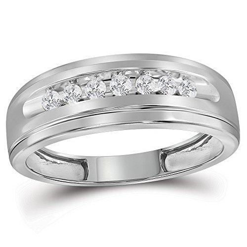 Alianza de boda para hombres de oro blanco de 10 quilates con diamantes cortados en...