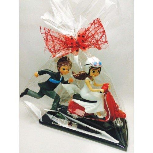 Figura boda GRANDE muñecos novios moto-vespa GRABADA figuras personalizadas