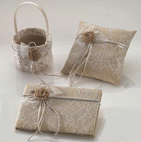 Pack cojín para anillos - alianzas, cesta arras/pétalos y libro firmas encaje y flor...