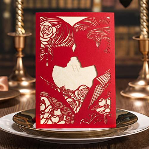 WISHMADE 50Pcs Rojo Elegante Laser Cut Invitaciones de Boda Kit de Tarjetas, Novia y Novio...