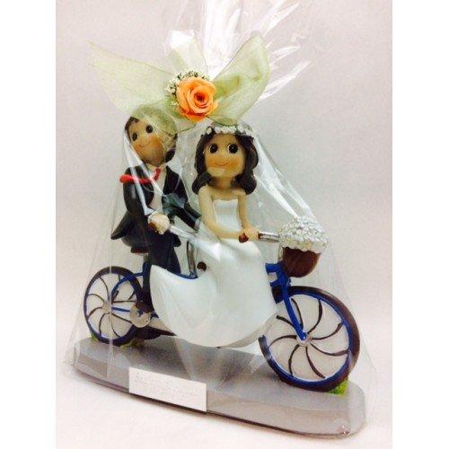 Figuras GRABADAS de boda novios tandem/bicicleta muñecos tarta pastel PERSONALIZADA bici