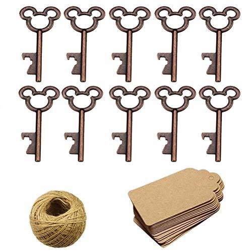 50 unids esqueleto clave abrebotellas con 50 piezas de tarjeta kraft etiqueta y guita para...