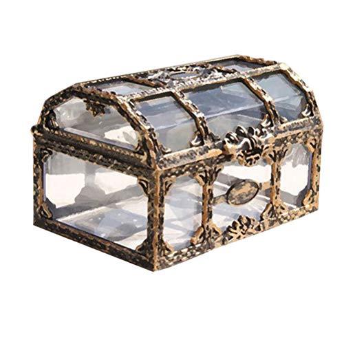 Toyvian Caja de plástico Transparente para el Tesoro del Pirata con Joyas de Cristal para...