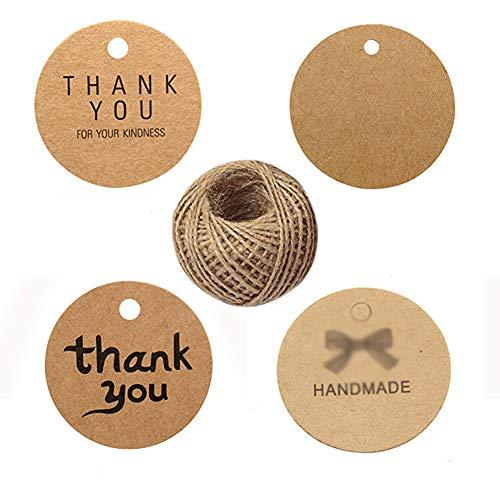 400 etiquetas de regalo de agradecimiento, etiquetas de papel kraft para colgar, redondas...