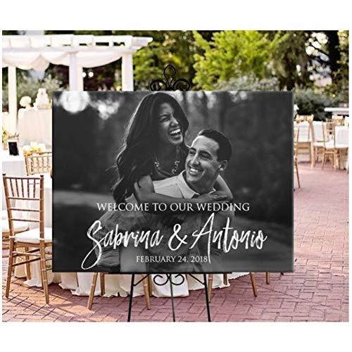 Bienvenido a nuestra boda Cartel de bienvenida Nombre y fecha personalizados boda...