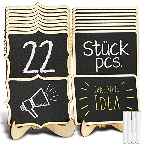 TRITART Pizarras pequeñas de madera - 22 mini carteles originales con 4 tizas para...